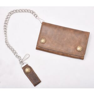 Leather Chain Wallet Light Brown