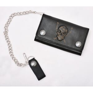 Leather Chain Wallet Skul Black
