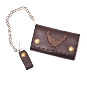 Leather Chain Wallet Brown Eagle