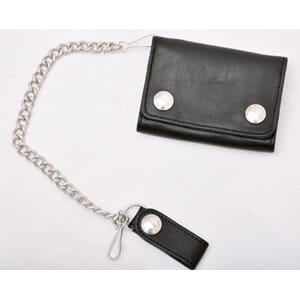 Leather Chain Wallet Black Mini